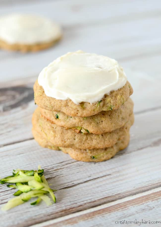 Soft Zucchini Cookies with cream cheese frosting