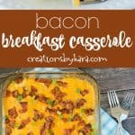 Recipe for bacon breakfast casserole collage