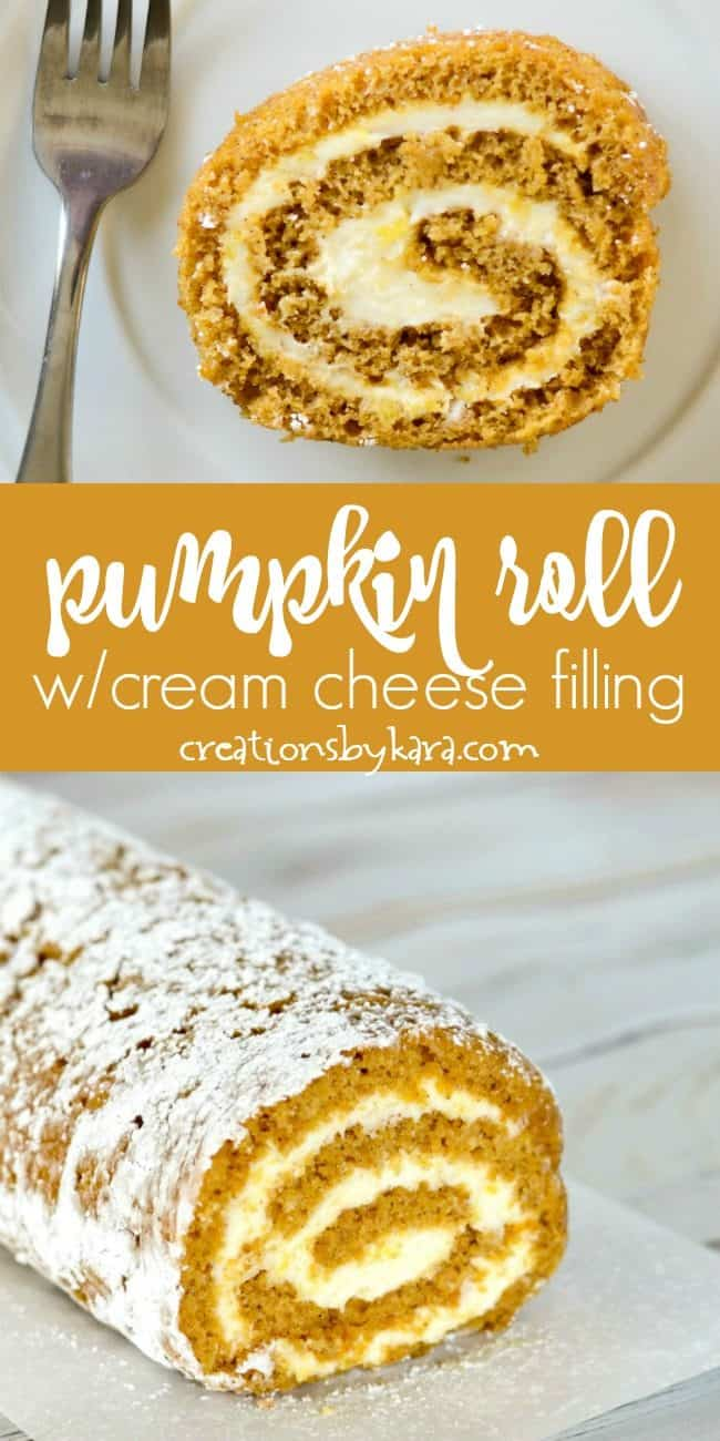 pumpkin roll with cream cheese filling recipe collage