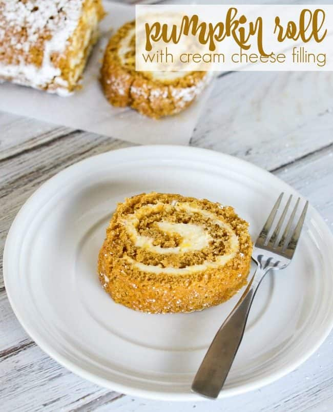 libby's pumpkin roll on a plate with a fork title page
