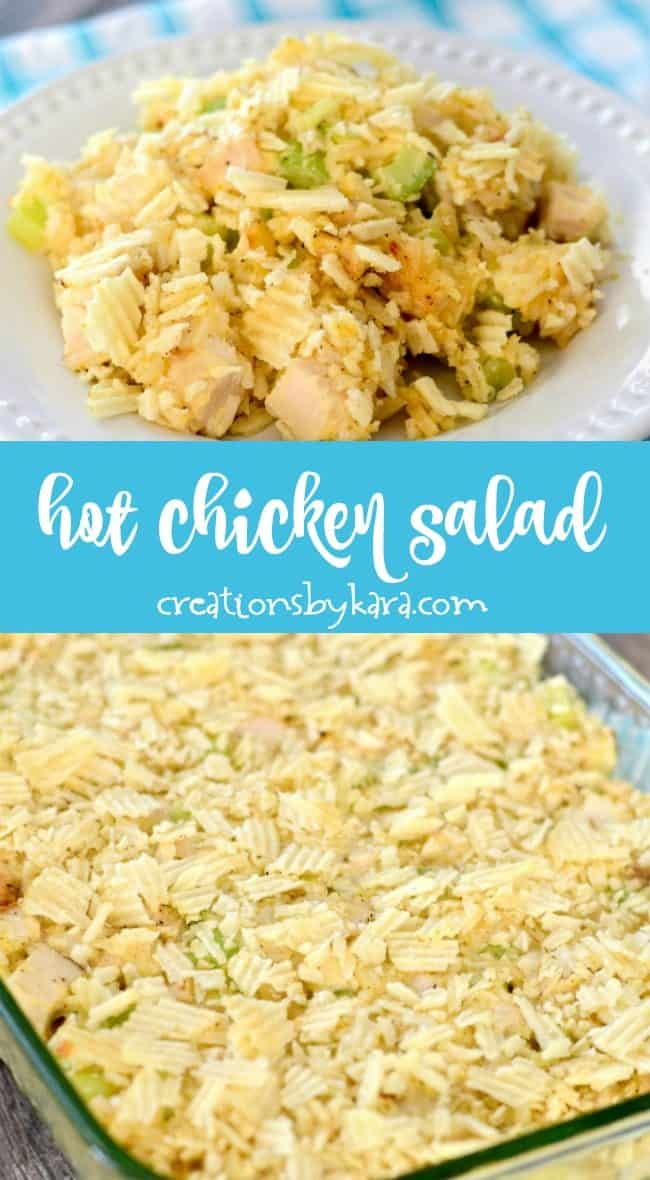 hot chicken salad recipe collage