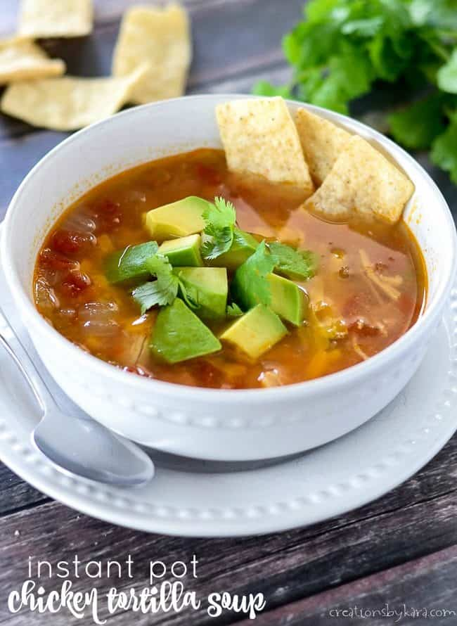 instant pot chicken tortilla soup in a bowl on a plate