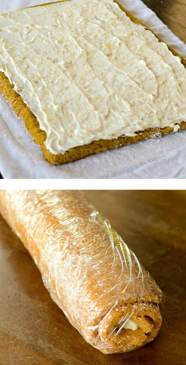 how to roll up pumpkin roll with cream cheese filling