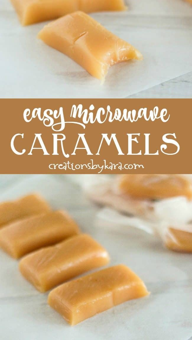 easy microwave caramels recipe collage