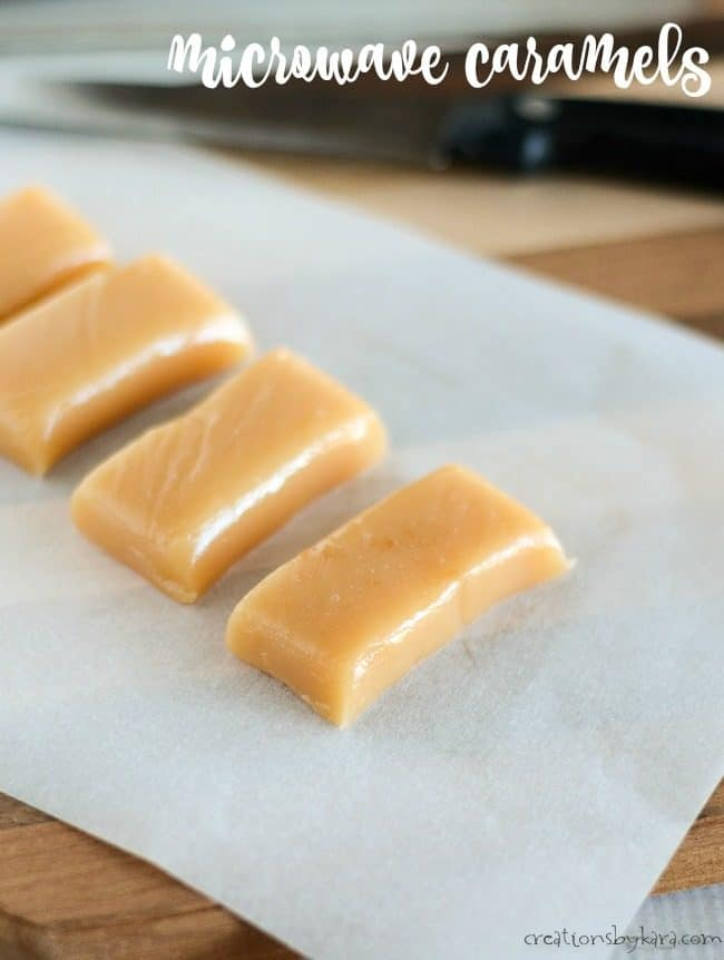 homemade microwave caramels on a cutting board