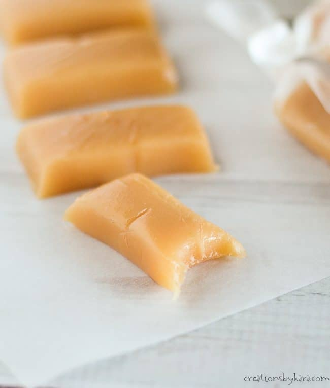 cut up microwave caramels on waxed paper