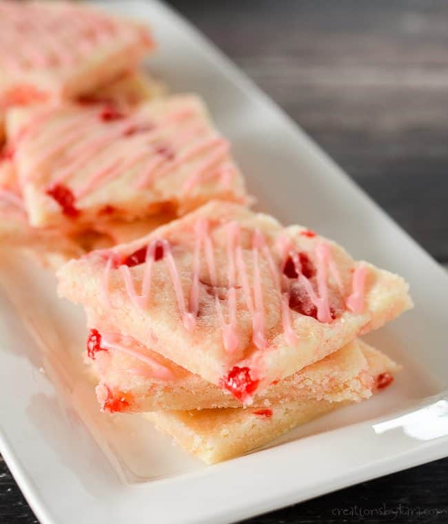 maraschino cherry bars on a white tray