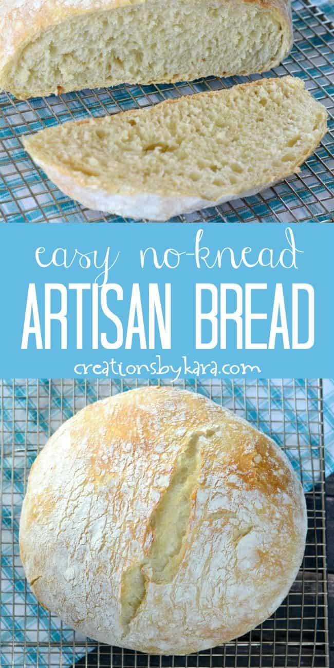 easy no knead artisan bread recipe collage