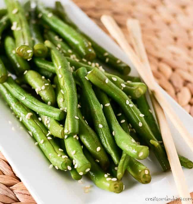 close up of easy green beans on a plate