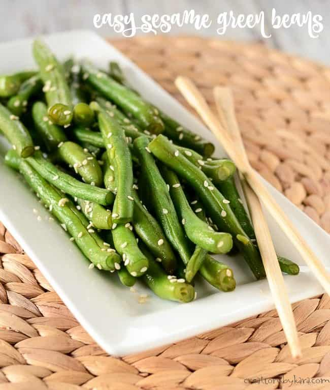 easy green beans with sesame seeds on a plate