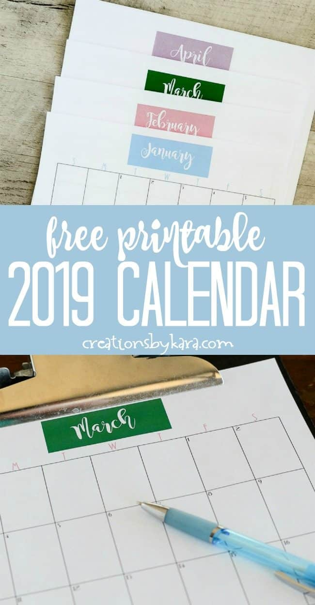 free printable 2019 calendar collage