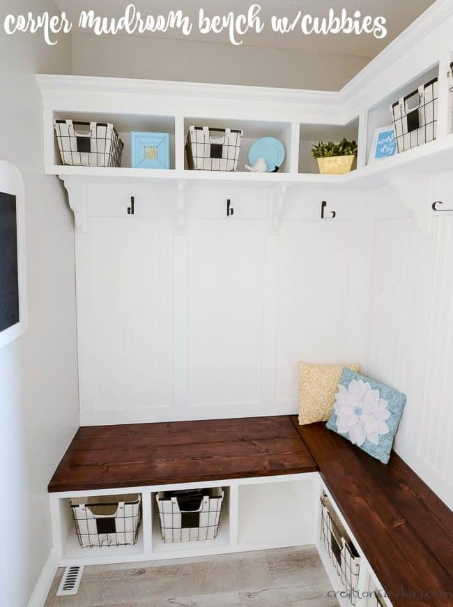 Completed Mudroom Bench With Cubbies And Shelves