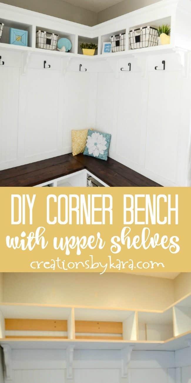 Corner bench in mudroom/ laundry room