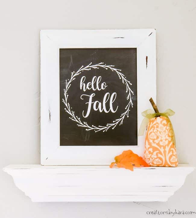 fall printable art in a white frame