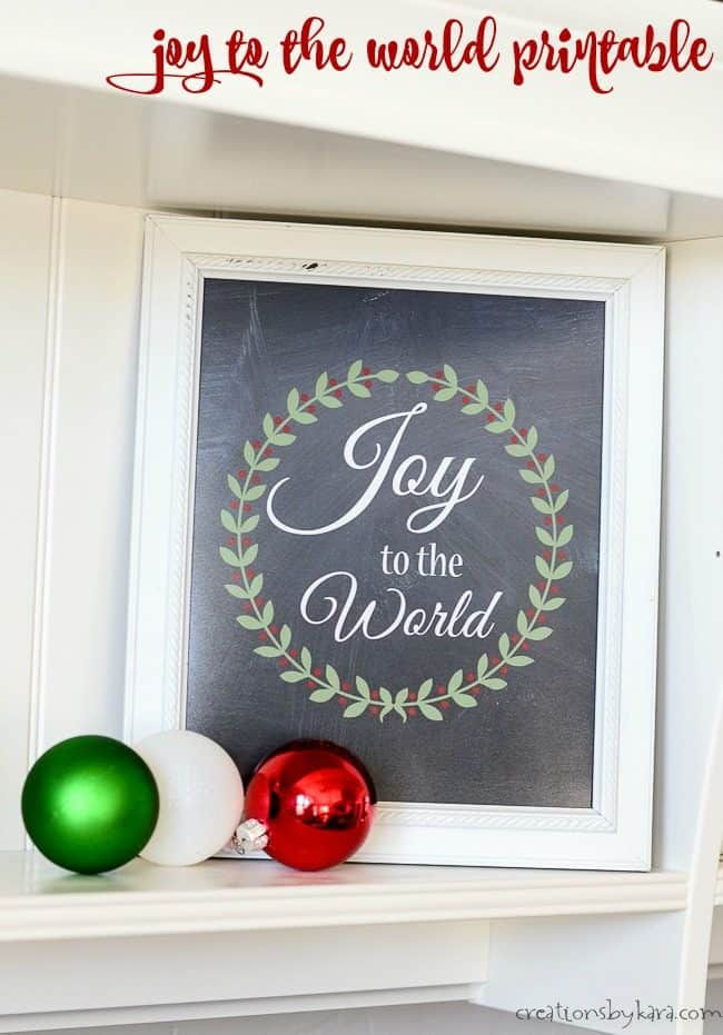joy to the world printable in a white frame