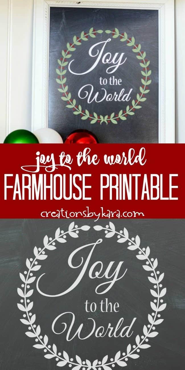 free joy to the world farmhouse printable collage
