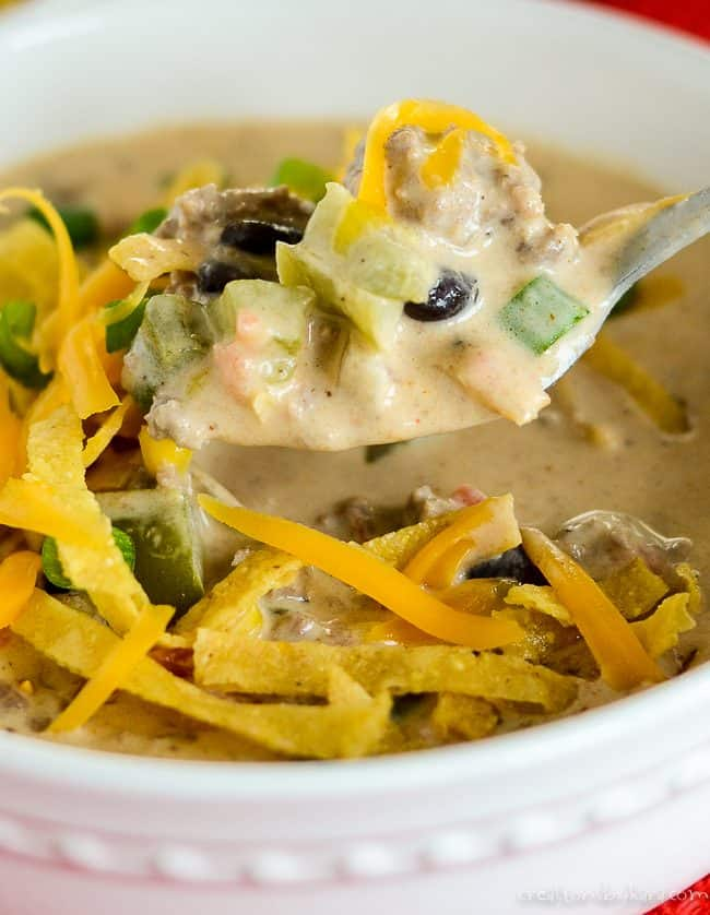 spoonful of creamy loaded nacho soup