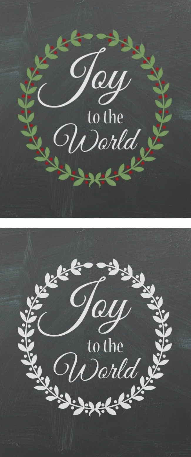 joy to the world wreath printable color and black and white