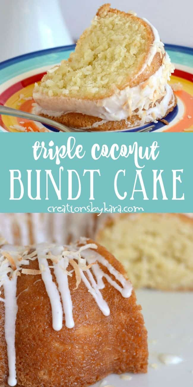 sour cream coconut bundt cake recipe collage