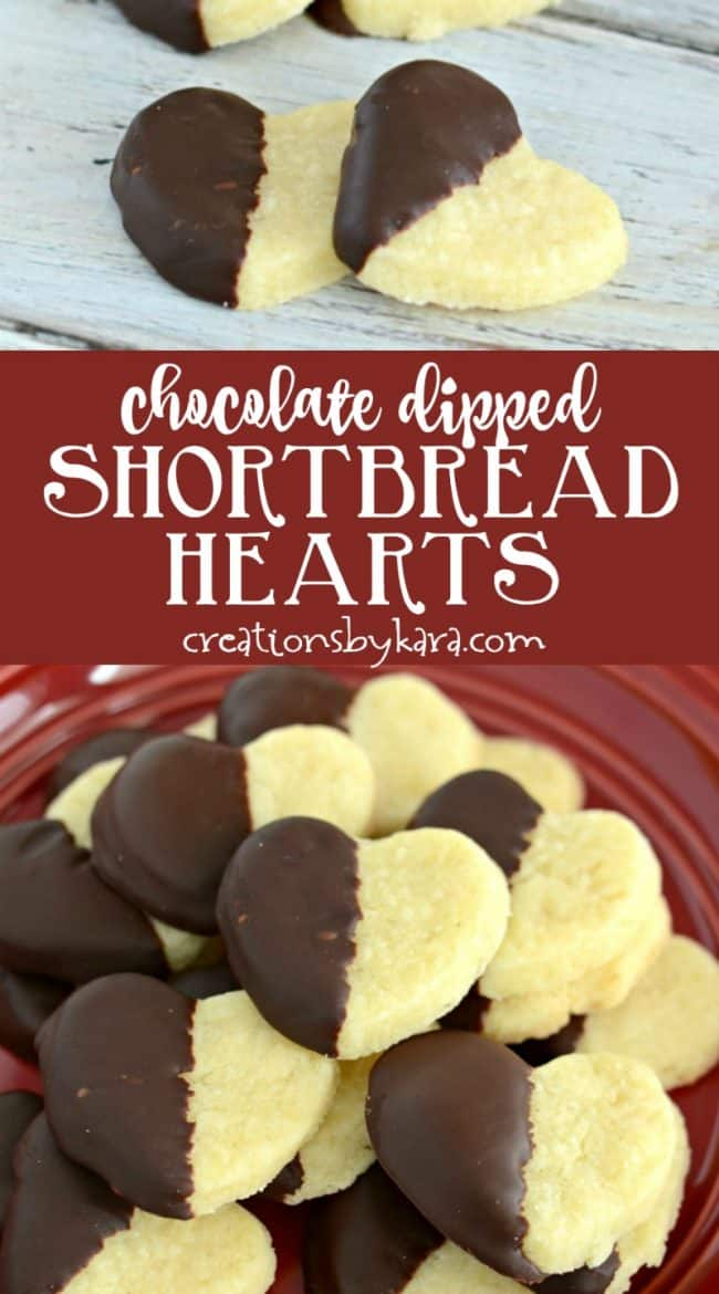 chocolate dipped shortbread hearts recipe collage