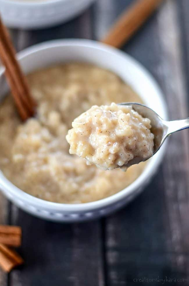 close up of spoonful of rice pudding made in the slow cooker