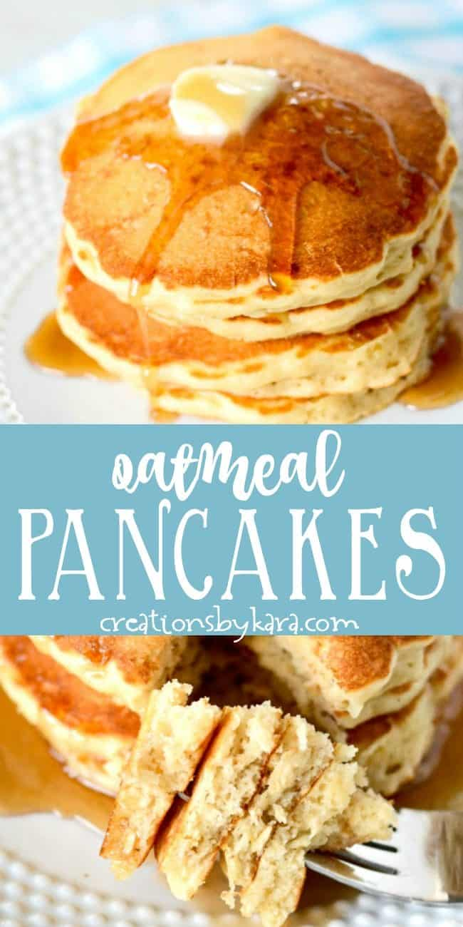 homemade oatmeal pancake recipe collage