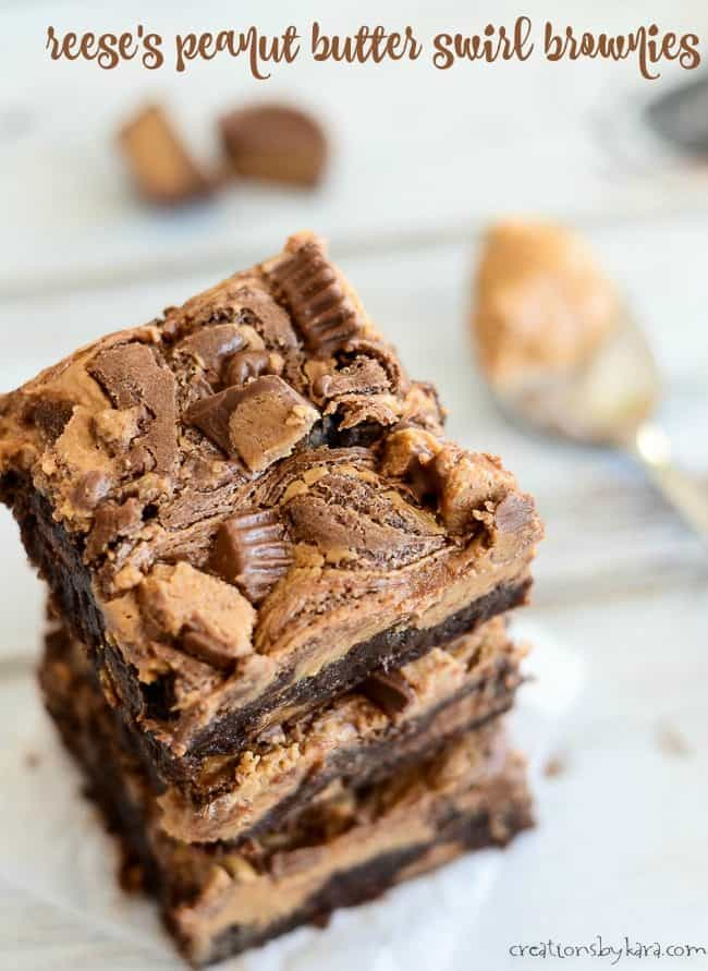 reese's peanut butter swirl brownies title photo