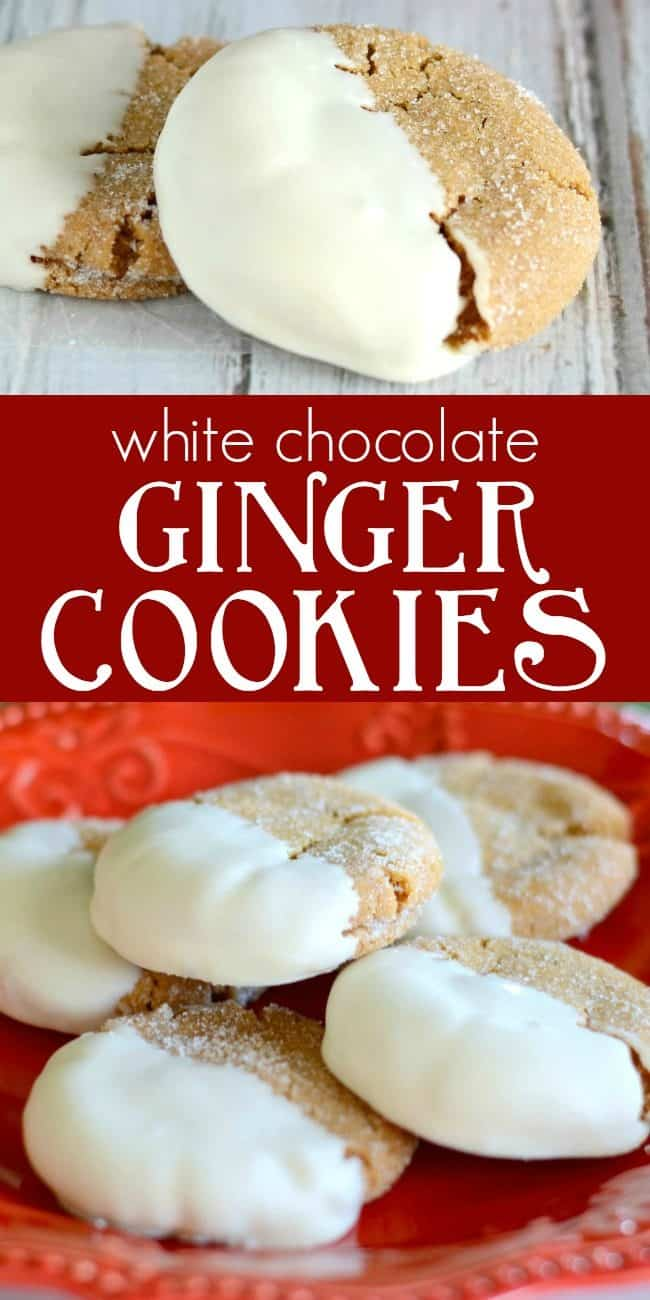 white chocolate ginger cookies recipe collage