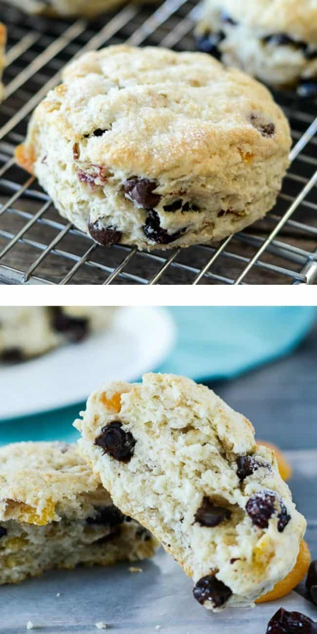 dried fruit chocolate chip scone photo collage