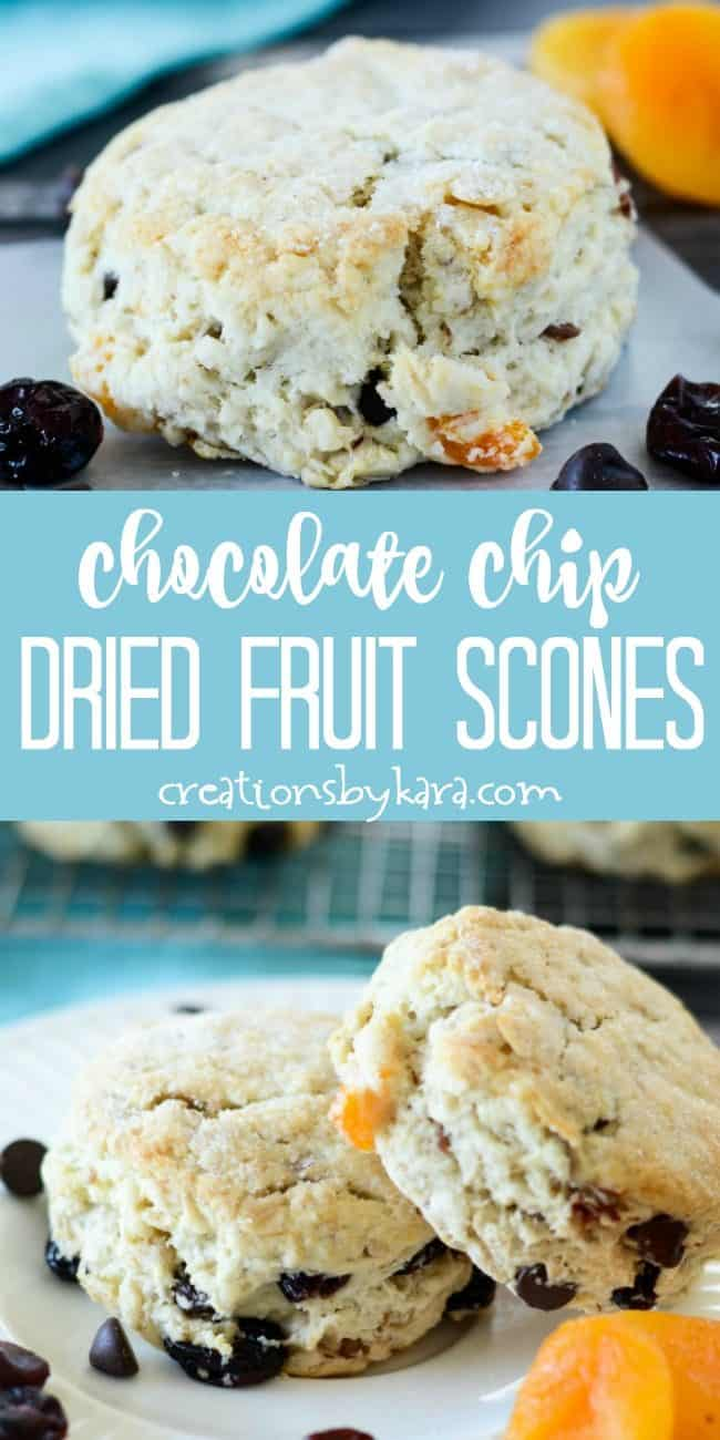 chocolate chip dried fruit scones recipe collage
