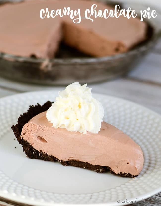 creamy chocolate pie with whipped cream
