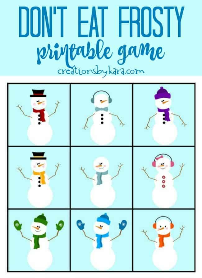 printable snowman game