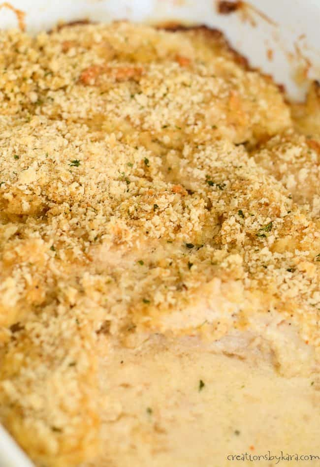Creamy baked mayonnaise chicken in a baking dish