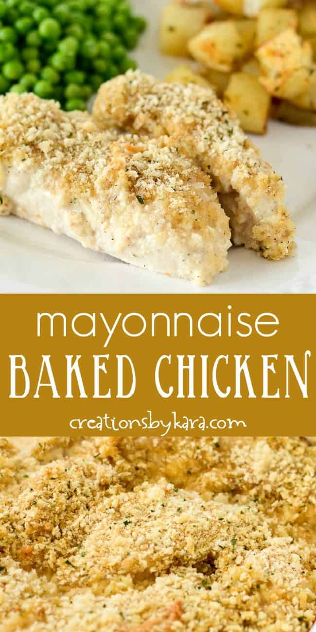mayonnaise baked chicken recipe collage