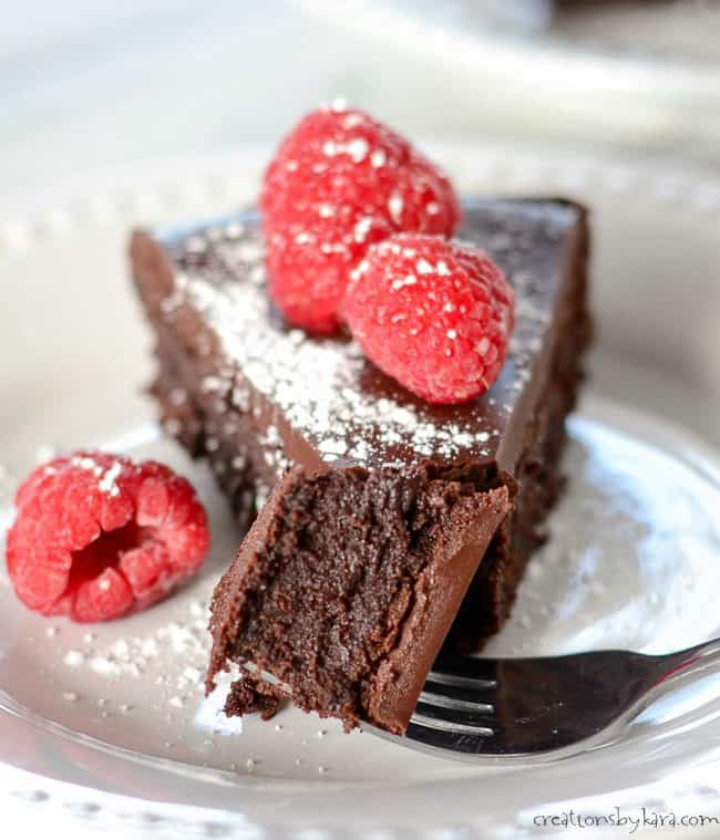 bite of flourless chocolate cake on a fork
