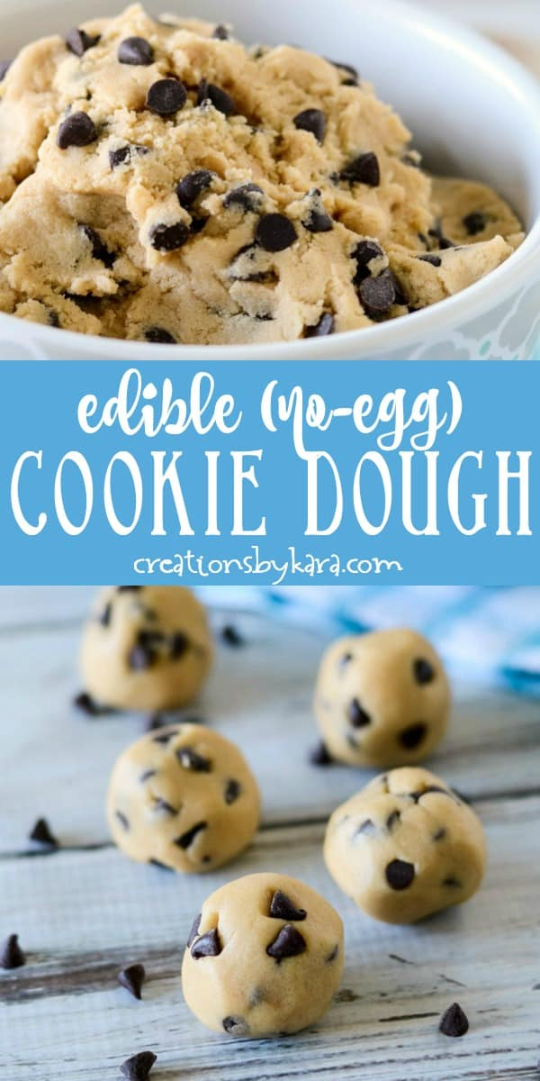 edible cookie dough with no eggs recipe collage