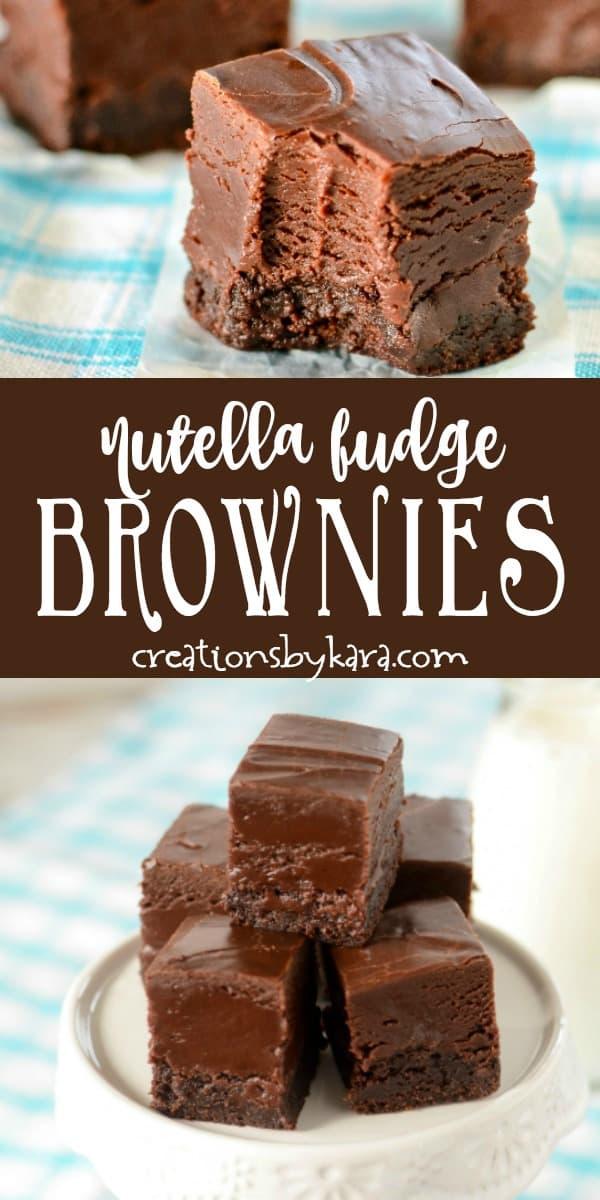 nutella fudge brownies recipe collage