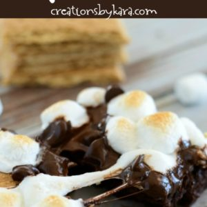 brownie topped with melted chocolate bar and toasted marshmallows