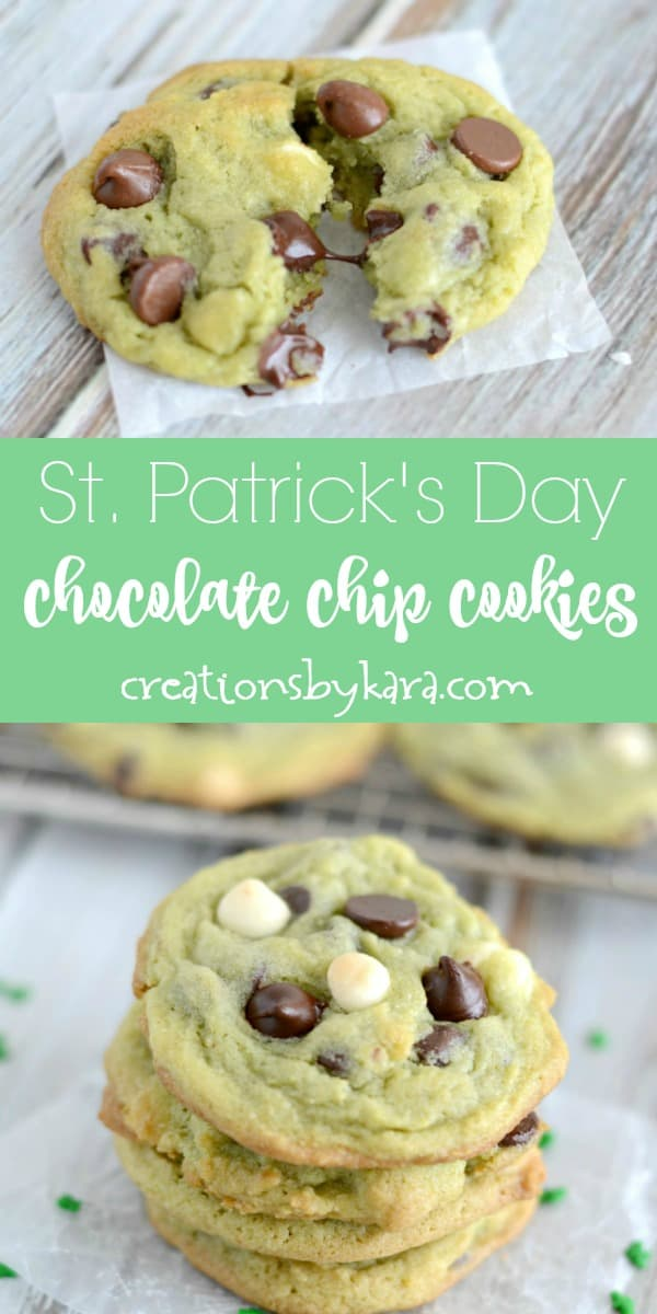 st patrick's day chocolate chip cookies recipe collage