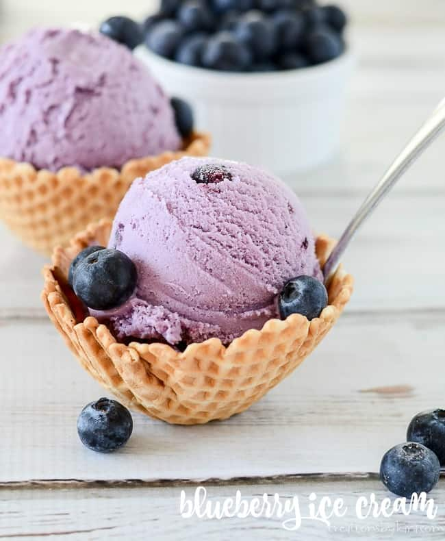 blueberry ice cream in waffle bowl