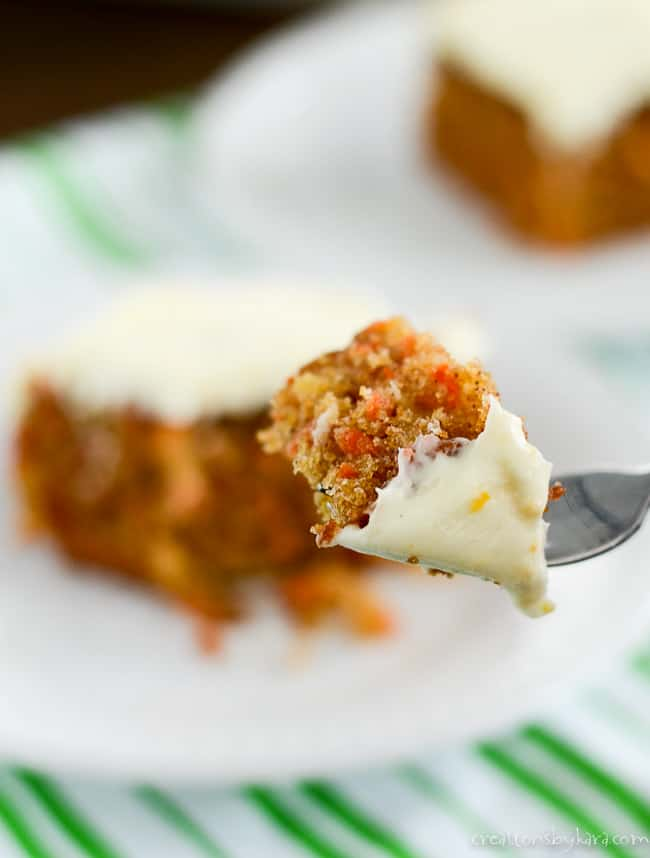 bite of carrot cake on a fork