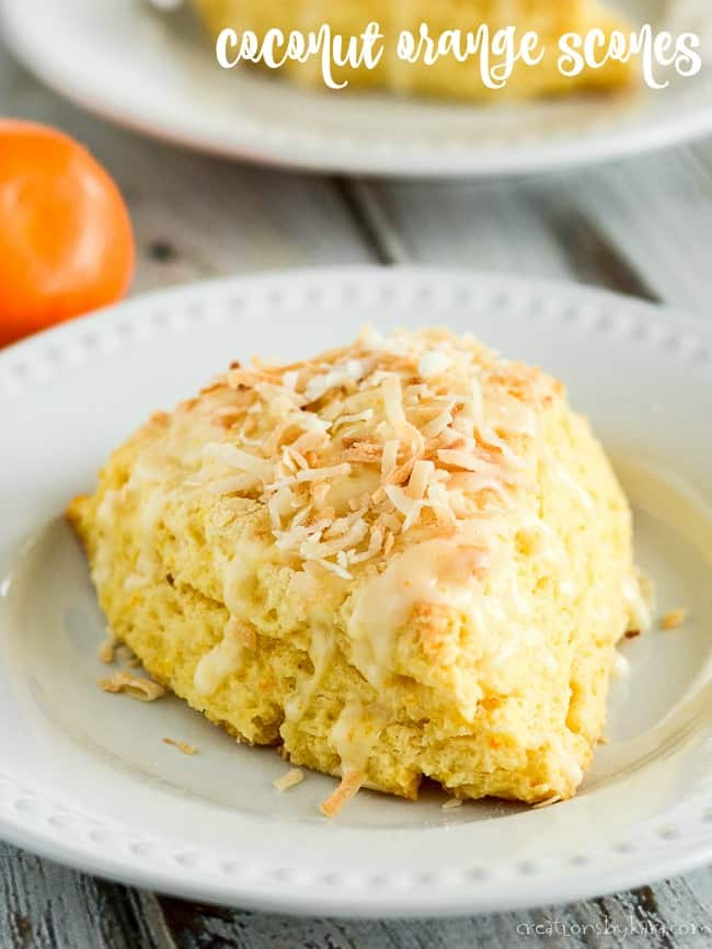 coconut orange scones recipe title photo