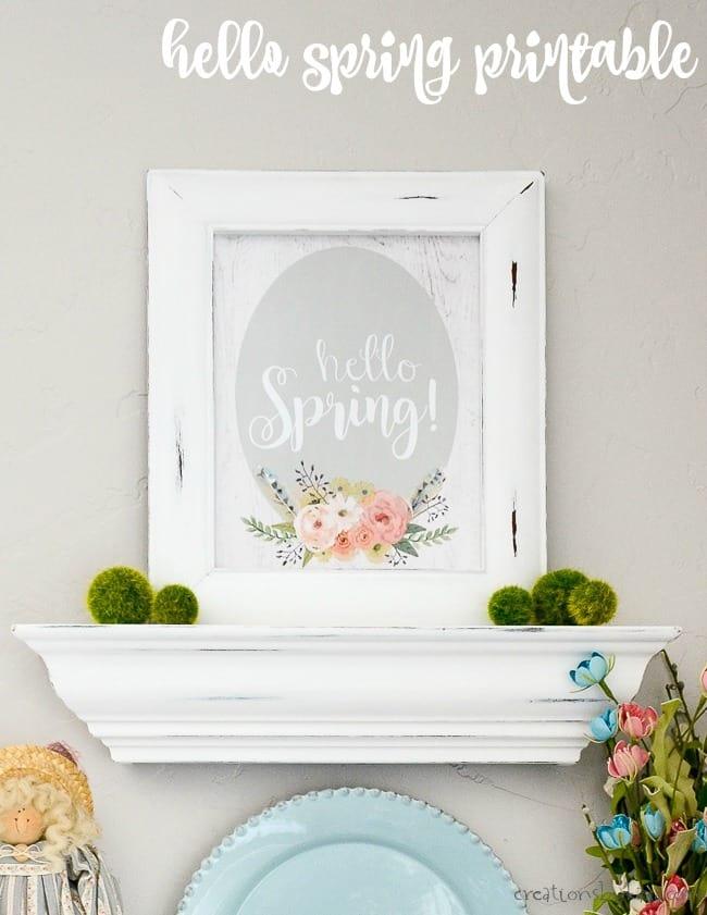 hello spring printable in a white frame