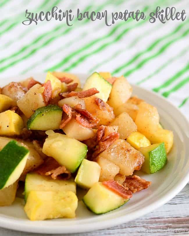 zucchini with bacon and potatoes on a plate