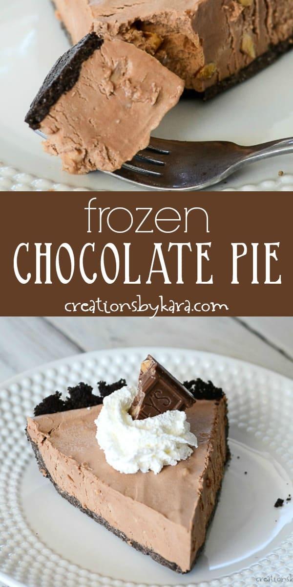 frozen chocolate pie recipe collage