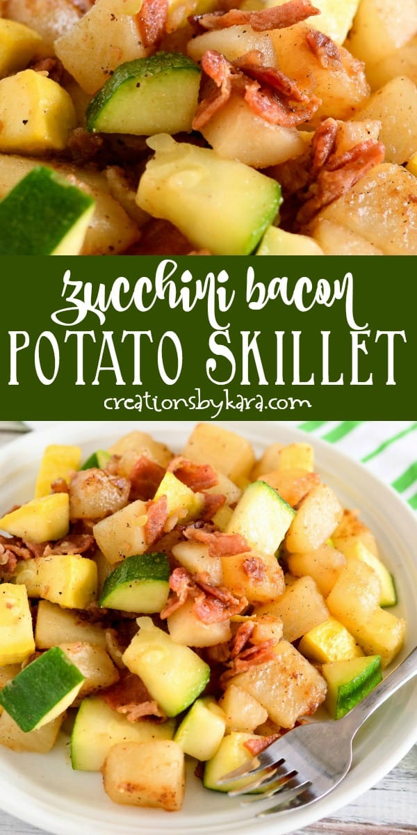 zucchini with bacon recipe collage