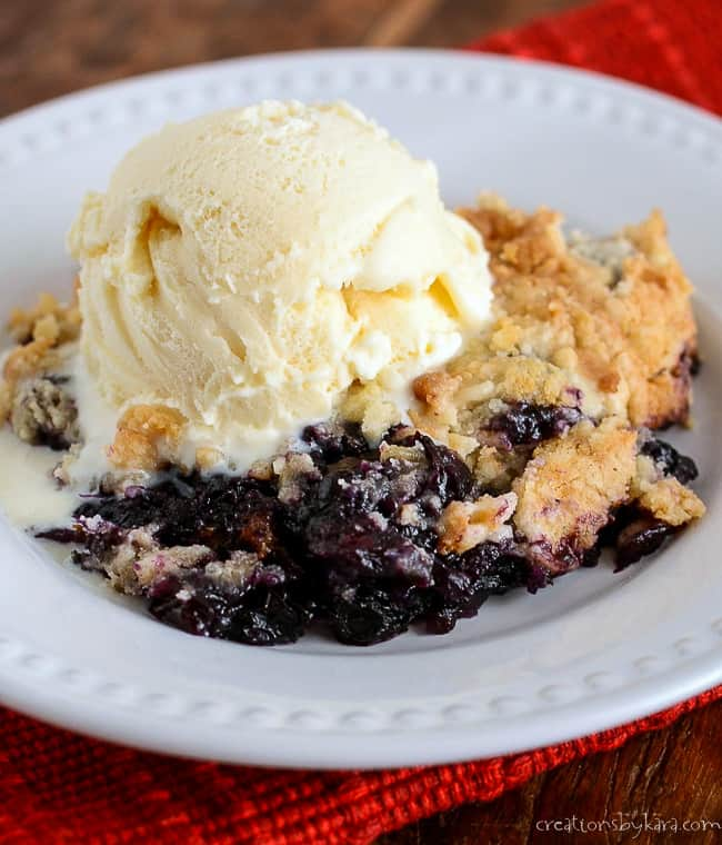 blueberry dump cake on a plate