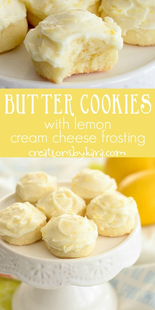 butter cookies with lemon cream cheese frosting recipe collage