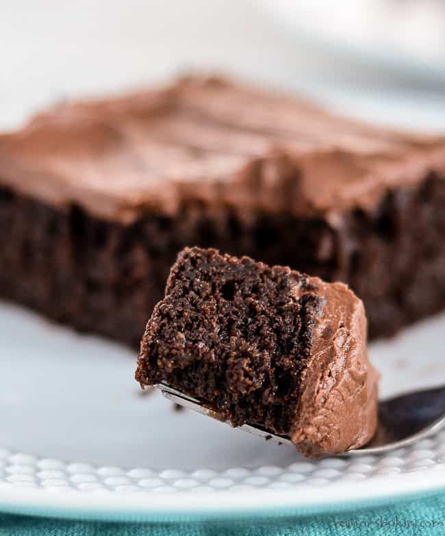 bite of chocolate quinoa cake on a fork