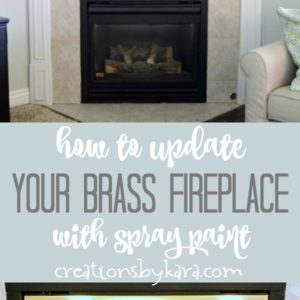 brass fireplace makeover collage